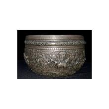 IMPRESIONANT BOL DIN ARGINT , BIRMANIA  SECOL 19. Fine Repoussed Silver Bowl, Burma, circa 1880