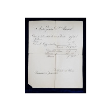 INSTITUTUL SFANTA MARIA  - NOTA PENTRU ACHITAREA CHELTUIELILOR SCOLARE , DATA 21 IUNIE 1888