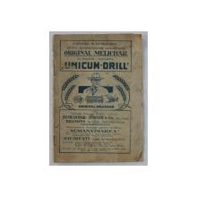 INSTRUCTIE DE INTREBUINTARE PENTRU SEMANATOAREA UNIVERSALA  ' ORIGINAL MELICHAR  ' CU LINGURITE REGULABILE  ' UNICUM - DRILL ' , PLIANT DE PREZENTARE , 1926
