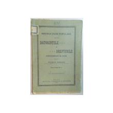 INSTRUCTIUNI POPULARE DESPRE DATORINTELE SI DREPTURILE PURTATORULUI DE DARE de WILHELM NIEMANDZ  1900