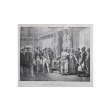 INTRODUCTION DE L 'AMBASSADEUR DE LA PORTE OTOMANE (  PREZENTAREA AMBASADORULUI PORTII OTOMANE ) , LITOGRAFIE de C, MOTTE , MONOCROMA , MIJLOCUL SEC. XIX