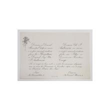 INVITATIE LA CASATORIE RELIGIOASA , GRAVATA DE PICTORUL SAMUEL MUTZNER , TIP CARTE POSTALA , MONOCROMA, 1921
