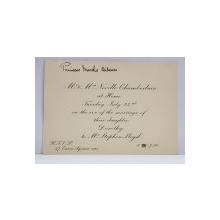 INVITATIE TRIMISA  DE PRIM - MINISTRUL REGATULUI UNIT 1937 - 1940  , NEVILLE CHAMBERLAIN , CU SOTIA , PRINTESEI MARTHA BIBESCU , CU OCAZIA CASATORIEI FIICEI ACESTORA , PERIOADA INTERBELICA