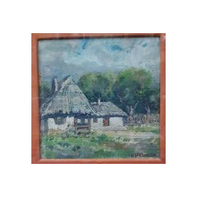 Iosif Steurer (1885-1971) - Peisaj cu case la tara