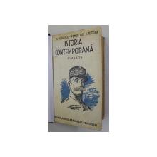 ISTORIA CONTEMPORANA PENTRU CLASA A VII -A  SECUNDARA de MARIN PETRESCU ...ION TOTOIU , 1935 , PREZINTA SUBLINIERI CU CREIONUL *