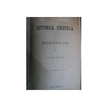 ISTORIA CRITICA A ROMANILOR -DIMITRIE CHEBAPCI-BUC. 1881