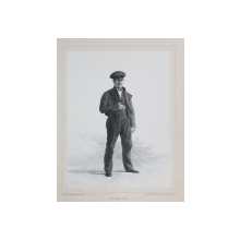 JEAN HENRI LEVEILLE , LITOGRAFIE DUPA UN DESEN de AUGUSTE RAFFET , MONOCROMA , DATATA 1848