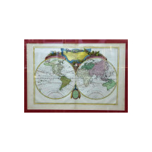 Jean Janvier, Mapamond sau descrierea globului terestru, Gravura colorata, 1762