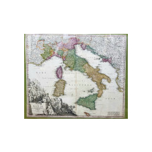 Johann Baptist Homann, STATUUM totius ITALIAE, SICILIAE, SARDINIAE, CORSICAE ET MALTAE, Harta 1715