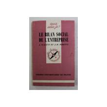 LE BILAN SOCIAL DE L 'ENTREPRISE par J. IGALENS et J. - M. PERETTI , 1980