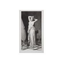 LE CORSAGE TOMBANT ( CORSETUL CAZUT ) , GRAVURA PE METAL , MONOCROMA, DATATA PE VERSO 1875 , PREZINTA O INDOITURA LA MIJLOC *