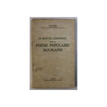 LE SENS DE L'EXISTENCE DANS LA POESIE POPULAIRE ROUMAINE par LIVIU RUSU, 1935