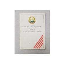 LEGITIMATIE PENTRU OFITER DECORAT CU MEDALIA  ' ELIBERAREA DE SUB JUGUL FASCIST ' , 1954