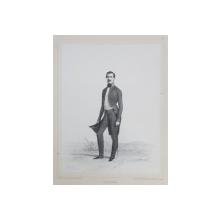LEON LALANNE , LITOGRAFIE DUPA UN DESEN de AUGUSTE RAFFET , MONOCROMA, DATATA 1848