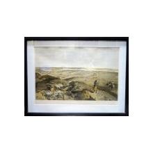 Litografie semnata W Simpson ,,Bastion du Mat from central bastion '' 1856