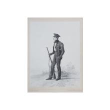 LOUIS ROUSSEAU , LITOGRAFIE DUPA UN DESEN de AUGUSTE RAFFET , MONOCROMA, DATATA 1848