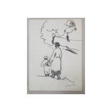 LUCRETIA  MIHAIL SILION , MAMA SI FIUL LA PLIMBARE , LA TIMIS   , DESEN ,  1937