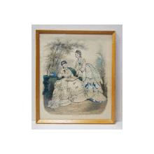MAMA CU FIICA IN ROCHII DE INTERIOR , MODA PARIZIANA , GRAVURA ORIGINALA , COLORATA MANUAL , DATATA AUGUST 1872
