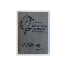 MANUAL OF PRESSURE GAUGES THERMOMETERS HYGROMETERS . HAENNI , CATALOGUE No. 14 E , 1953
