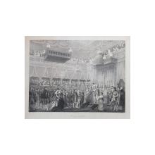 MARIAGE DE NAPOLEON ( CASATORIA LUI NAPOLEON ) , LITOGRAFIE de C. MOTTE , MONOCROMA, MIJLOCUL SEC. XIX