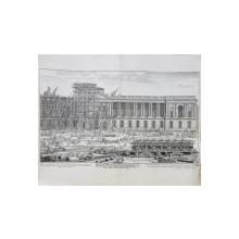 Masinarii ce au ajutat la ridicarea principalei intrari la Luvru - Gravura, Circa 1720