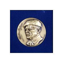 MEDALIE ' TUDOR ARGHEZI 1880- 1967 ' , LUCRATA DE GHEORGHE ADOC , MATERIAL - BRONZ , LANSATA IN 1994