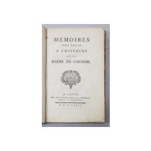 MEMOIRES POUR SERVIR A L 'HISTOIRE DE LA BARBE DE L ' HOMME par DOM AUGUSTIN FANGE , 1774 , RARITATE !