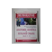 MEMORATOR DE ANATOMIE GENETICA SI ECOLOGIE UMANA , CLASELE XI - XII de  IRINA KOVACS , DANIELA FIRICEL , EMILIA POP , LILIANA PASCA , 2015