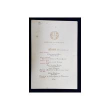 MENIUL UNUI DINEU OFERIT DE LEGATIA PORTUGALIEI DIN BUCURESTI , APRILIE 1925