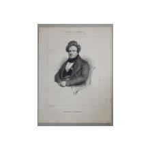 MICHEL MASSON , GRAVURA PE METAL,  IMP. D ' AUBERT et Cie., MIJLOCUL SEC. XIX .