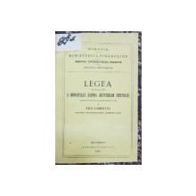 MINISTERUL FINANTELOR, LEGEA DIN 20 APRILIE 1867 A IMPOZITULUI ASUPRA BAUTURILOR SPIRTOASE - BUCURESTI, 1874