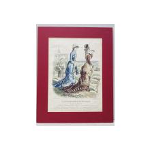Moda, Le journal des dames et des demoiselles -Gravura colorata,  1878