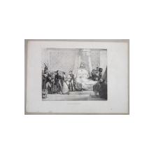 NAISSANCE DU ROI DE ROME ( NASTEREA REGELUI ROMEI ) , LITOGRAFIE de C. MOTTE , MONOCROMA , MIJLOCUL SEC. XIX