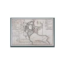 NEUE BELAGERUNG DER FESTUNG TEMESWAR ( NOUL ASEDIU AL CETATII TIMISOARA ) , LA 1 SEPTEMBRIE 1716 , HARTA MILITARA IN LIMBA GERMANA , GRAVURA , INCEPUTUL SEC. XVIII