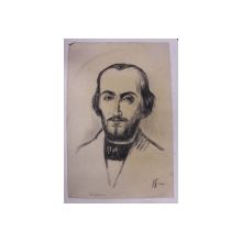 NICOLAE BALCESCU - DESEN de B'ARG ( ION BARBULESCU 1887 - 1969 ) , PERIOADA INTERBELICA , SEMNAT DREAPTA JOS *