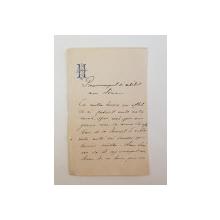Nicolae Hurmuzachi  scrisoare catre Petre Garboviceanu, 1880