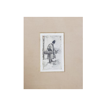 NICOLAE VERMONT ( 1866 - 1932 ) , TARAN CU COSURI DE NUIELE , GRAVURA