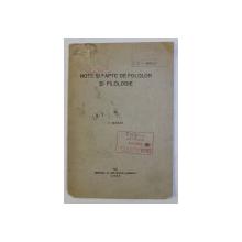 NOTE SI FAPTE DE FOLCLOR SI FILOLOGIE de G. GIUGLEA , 1928