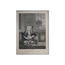 NOVI OU FILLE GRECQUE DANS LA CEREMONIE DU MARIAGE , GRAVURA ORIGINALA PE METAL de G. SCOTIN , MONOCROMA, , 1714