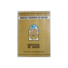 OBICEIURI DE IARNA  - FOLCLOR MUZICAL DIN REPERTORIUL COPIILOR de STELUTA POPA , 1981 ,COPERTA SPATE PREZINTA URME DE UZURA  , DEDICATIE*