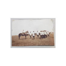 OFITERI DIN REGIMENTUL 2 ARTILERIE DE CETATE IN TIMPUL UNEI APLICATII , FOTOGRAFIE TIP CARTE POSTALA , MONOCROMA, NECIRCULATA , DATATA MAI 1911