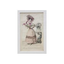 PARISIAN FASHIONS FOR DECEMBER , DOAMNE IN ROCHII BRODATE CU PANGLICI ROZ SI ALBASTRE ,GRAVURA COLORATA MANUAL , 1828