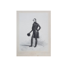 PAUL KOLOUNOFF , LITOGRAFIE DUPA UN DESEN de AUGUSTE RAFFET , MONOCROMA, DATATA 1848