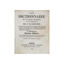 PETIT DICTIONNAIRE DE LA LANGUE FRANCAISE SUIVANT L'ORTOGRAPHE DE L 'ACADEMIE par HOCQUART , 1836