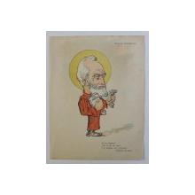 PETRACHE GRADISTEANU , CARICATURA , LITOGRAFIE de pictorul NICOLAE PETRESCU - GAINA 1871 - 1931 , 1898