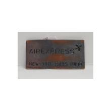 PLACUTA METALICA ' AIREXPRESS - NEW - YORK - PARIS - TOKIO ' , ANII '70