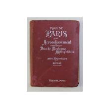 PLAN DE PARIS PAR ARRONDISSEMENT , BOIS DE BOULOGNE METROPOLITAIN AVEC REPERTOIRE DEPOSE , 1924