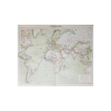 PLANISPHERE - FEUILLE II . OCEAN ATLANTIQUE ET OCEAN INDIEN , HARTA COLOR , SCARA 1/ 50.000.000 , INCEPUTUL SECOLULUI XX