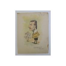 POLIZU MICSUNESTI , ' CATE LACRIMI ( OARE ) AM VARSAT , AS FACE - O FANTANA IN SAT ( CANTEC POPULAR ) , CARICATURA , LITOGRAFIE de pictorul NICOLAE PETRESCU - GAINA 1871 - 1931 , 1898