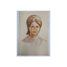 PORTRET DE FEMEIE  - DESEN CU AUTOR NECUNOSCUT , ANII  '70